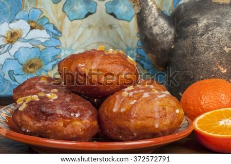 polish donuts - fat thursday - stock photo