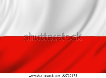 Polish flag waving in the wind - stock photo