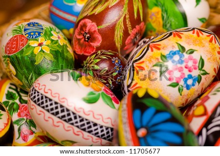 Polish hand painted easter eggs. Shallow depth of field