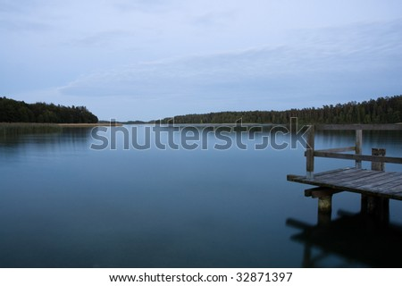 Polish lake Wigry at dusk