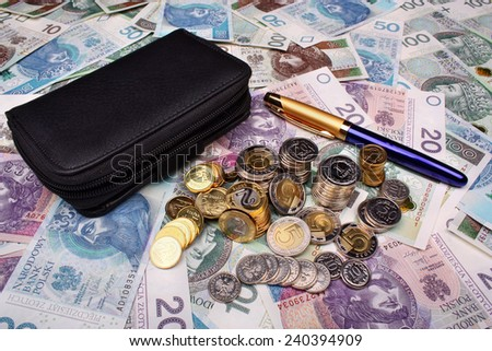 Polish money and wallet on money background - stock photo