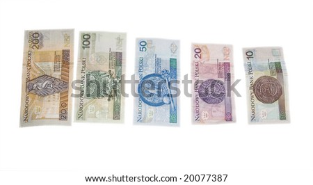 Polish money are isolated on white background - stock photo