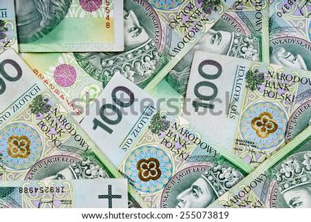 Polish money background - stock photo