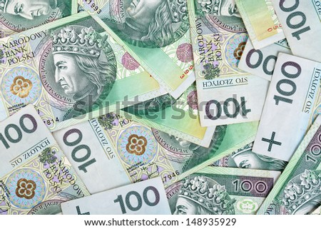 Polish money banknotes for background. Top view - stock photo