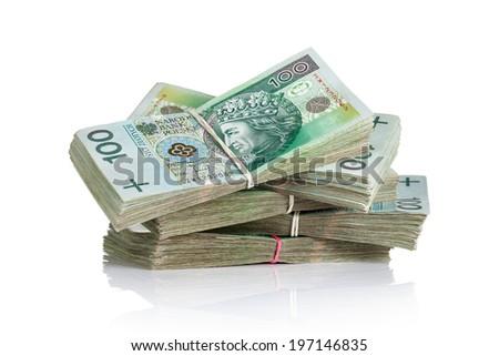 Polish money banknotes on white background. Stack of cash - stock photo
