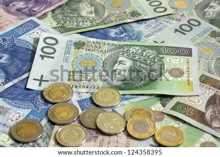 Polish money coins and banknotes background - stock photo