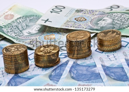 Polish money, coins, banknotes, close-up