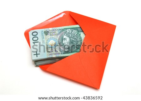 Polish Money in envelope - stock photo