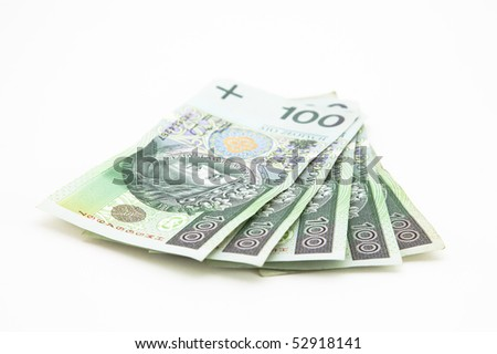 Polish money isolated on white - stock photo