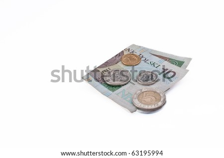 Polish money- ten zloty note, five zloty coin, one, ten and fifty grosz coins on white background - stock photo