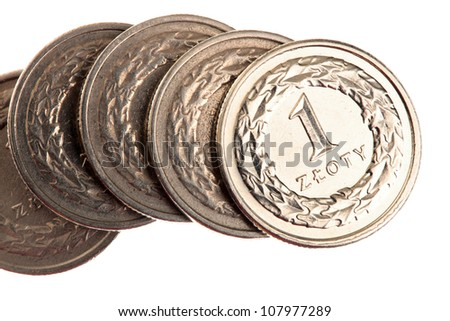polish money - zloty isolated on white background - stock photo