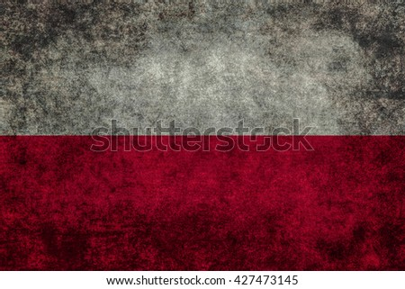 Polish national flag with a vintage textured treatment  - stock photo