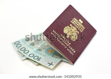 Polish passport with banknotes - stock photo