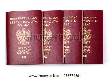 Polish passports on a white background - stock photo