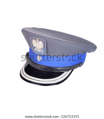 Polish police cap, on a white background - stock photo