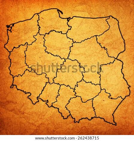 polish regions on administration map of poland - stock photo
