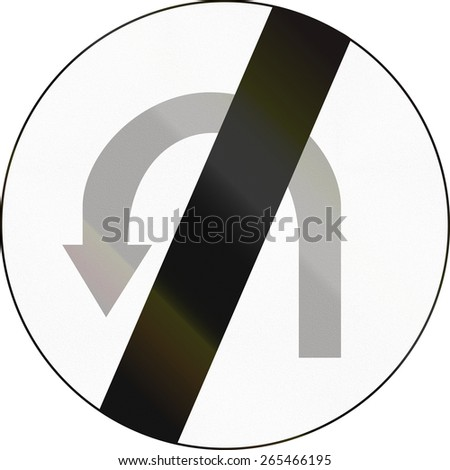 Polish regulatory sign - end of no U-turn zone. - stock photo