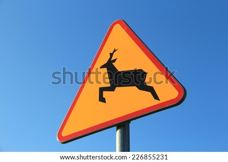 Polish road warning sign for deer  - stock photo