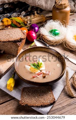 polish Sour rye soup - stock photo