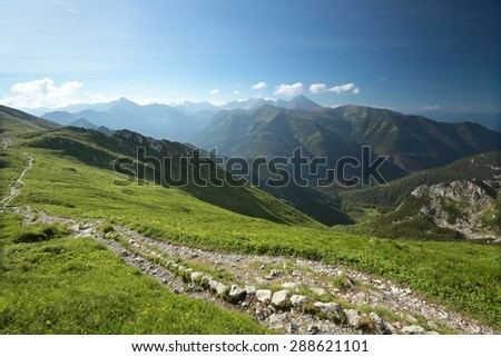 Polish Tatra mountains in the morning. - stock photo