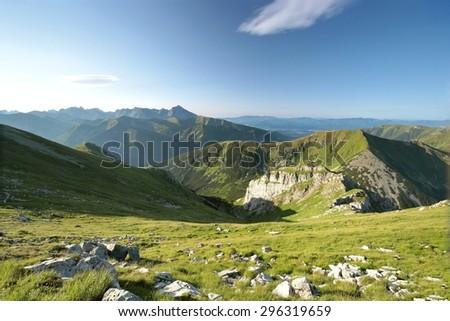 Polish Tatra mountains in the morning. - stock photo