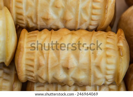 polish traditional smoked cheese made of salted sheep milk called oscypek - stock photo