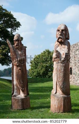 Polish wooden warriors - stock photo