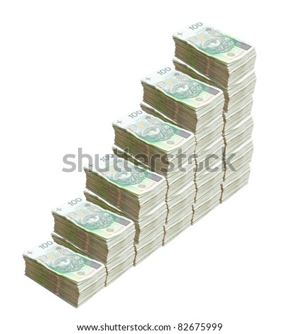 Polish Zloty bills, growing prices - stock photo