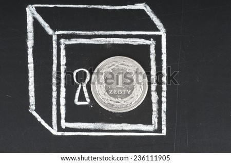 Polish zloty coin and drawn on a chalkboard safe. Save money concept. - stock photo