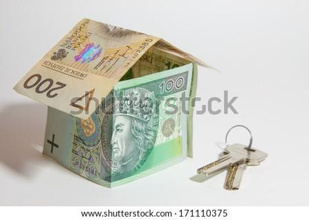 Polish zloty on a white background - stock photo
