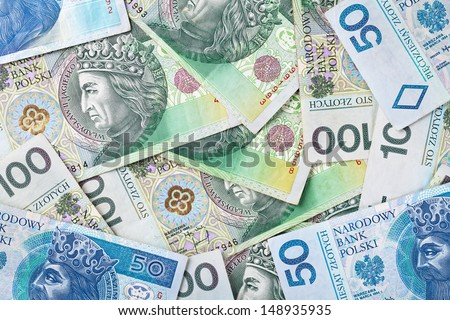 Polish zloty paper money for background. Top view - stock photo