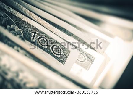Polish Zloty Trading Business Theme. Polish Zloty Closeup. One Hundred Zloty Bills. Polish Currency. Poland, Europe. - stock photo