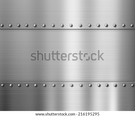 polished brushed metal background with rivets - stock photo