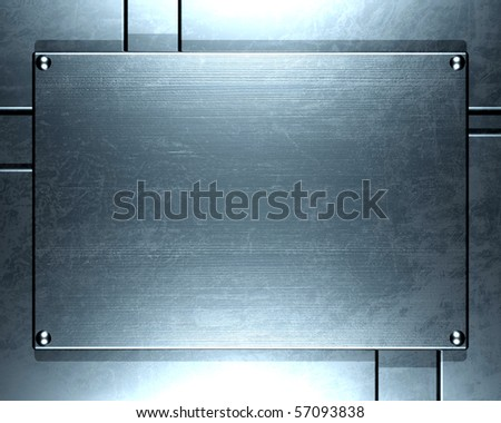 Polished metal plate steel background - stock photo