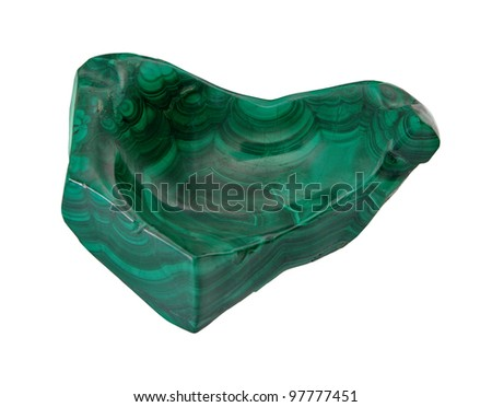 Polished Natural Malachite on a white background, isolated