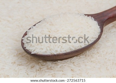 Polished rice on wooden spoon