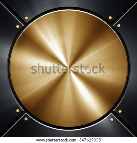 polished round metal plate - stock photo