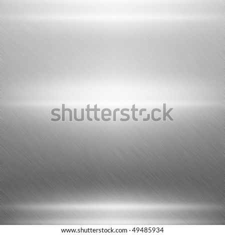 Polished silver metal plate - stock photo