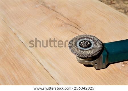 polishing tools placed on wood - stock photo