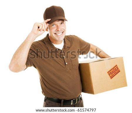 Polite delivery man or mover tipping his hat and smiling .  Isolated on white. - stock photo