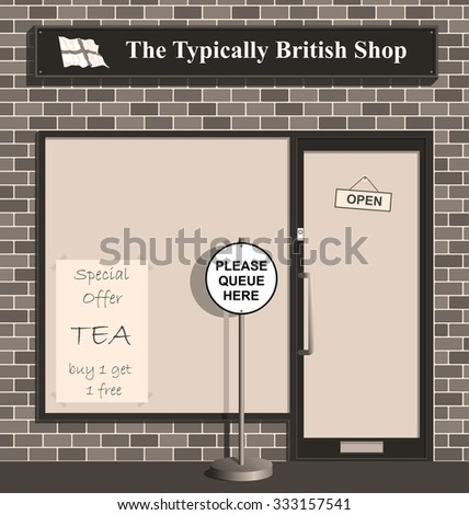 Polite queue sign at the Typically British Shop  - stock photo