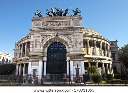 Politeama Garibaldi theater facade, Palermo, Sicily - stock photo