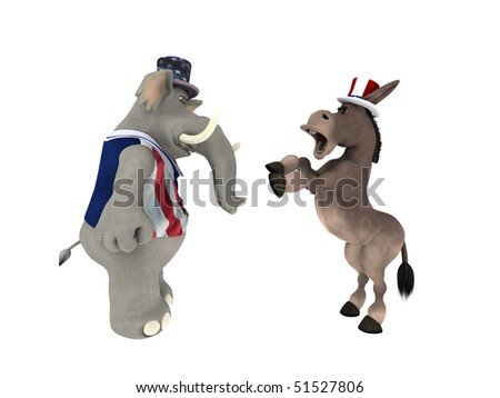 Political Argument GOP Republican Elephant arguing with a DNC Democrat Donkey. Isolated on a white background - stock photo