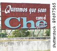 political billboard (Che Guevara), Santa Clara, Cuba - stock photo