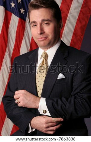 Political businessman motivated by power becomes a nominee - stock photo