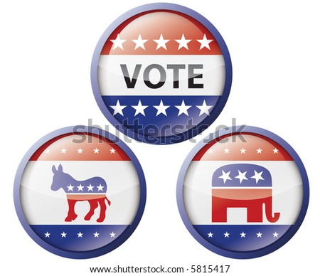 Political buttons (also available in vector) - stock photo