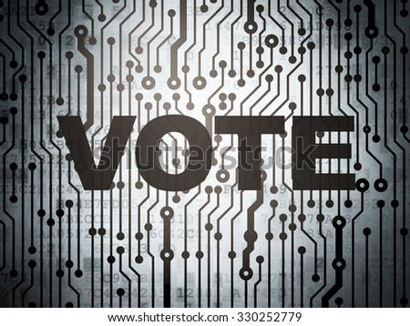 Political concept: circuit board with  word Vote, 3d render - stock photo