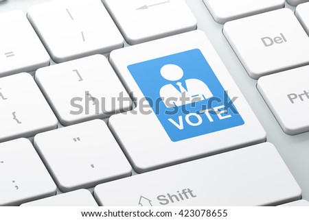 Political concept: Enter button with Ballot on computer keyboard background, 3D rendering