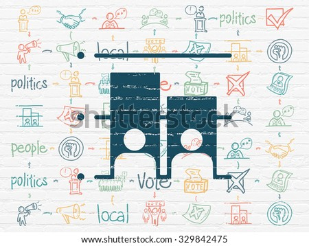 Political concept: Painted blue Election icon on White Brick wall background with Scheme Of Hand Drawn Politics Icons