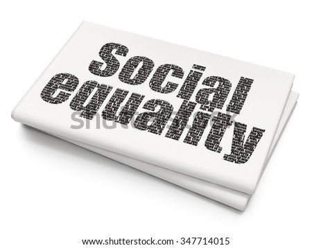 Political concept: Pixelated black text Social Equality on Blank Newspaper background - stock photo